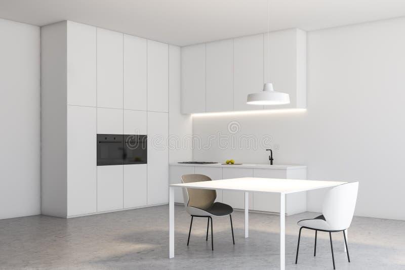 Weiße Dachbodenküchenecke mit Tabelle und Zählern stock abbildung