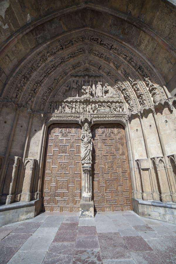 Weiße Dame Portal bei Leon Cathedral, Spanien lizenzfreies stockfoto