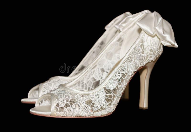 Weiße Damen-Partei-Schuhe lizenzfreie stockfotos