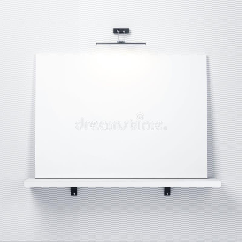 Weiße dekorative Wand mit Regal und weißes Plakat lizenzfreie abbildung