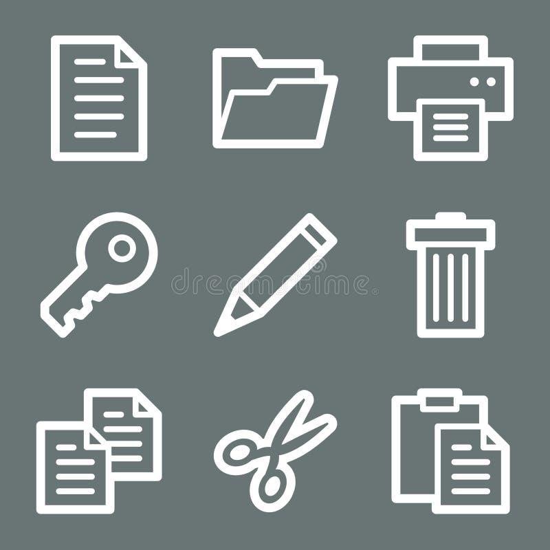 Weiße Dokumentenweb-Ikonen lizenzfreie abbildung