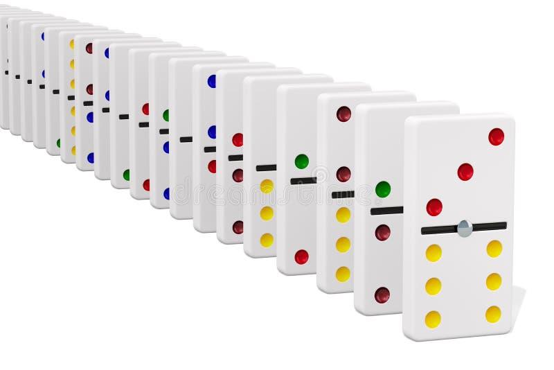 Weiße Dominofliesen in der Reihe auf weißem Hintergrund Wiedergabe 3d lizenzfreie abbildung
