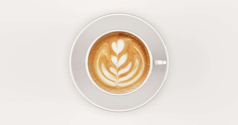 Weiße Draufsicht des Kaffeetasse-Cappuccinos mit Strudel stockbild