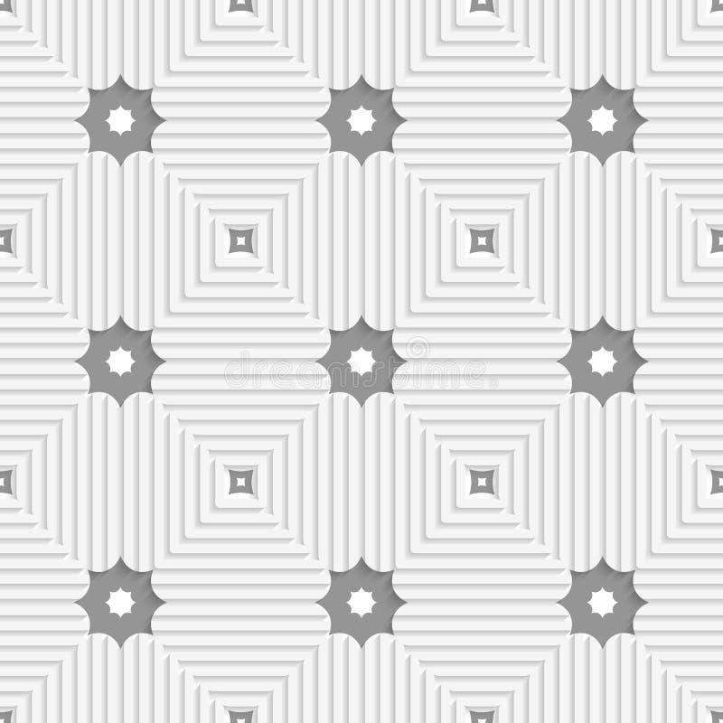 Weiße Dreiecke mit Linien und Grausternen vektor abbildung