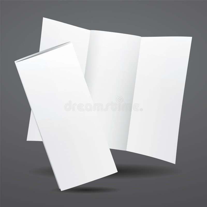 Weiße dreifachgefaltete Broschürenschablone des leeren Vektors lizenzfreie abbildung