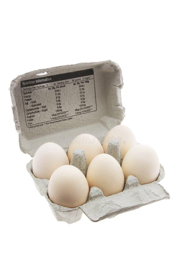 Weiße Eier auf Ei-Karton stockbilder