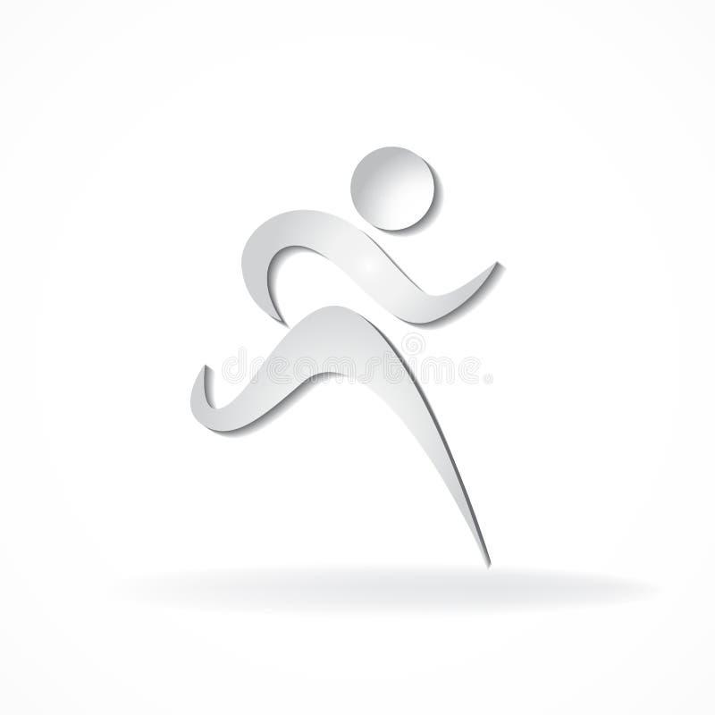 Weiße Eignungsläufer-Mannzahl Ikonenvektorsymbolidentifikations-Kartengeschäftslogo vektor abbildung