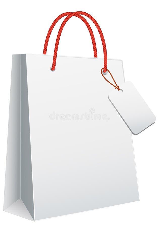 Weiße Einkaufstasche Stockbild