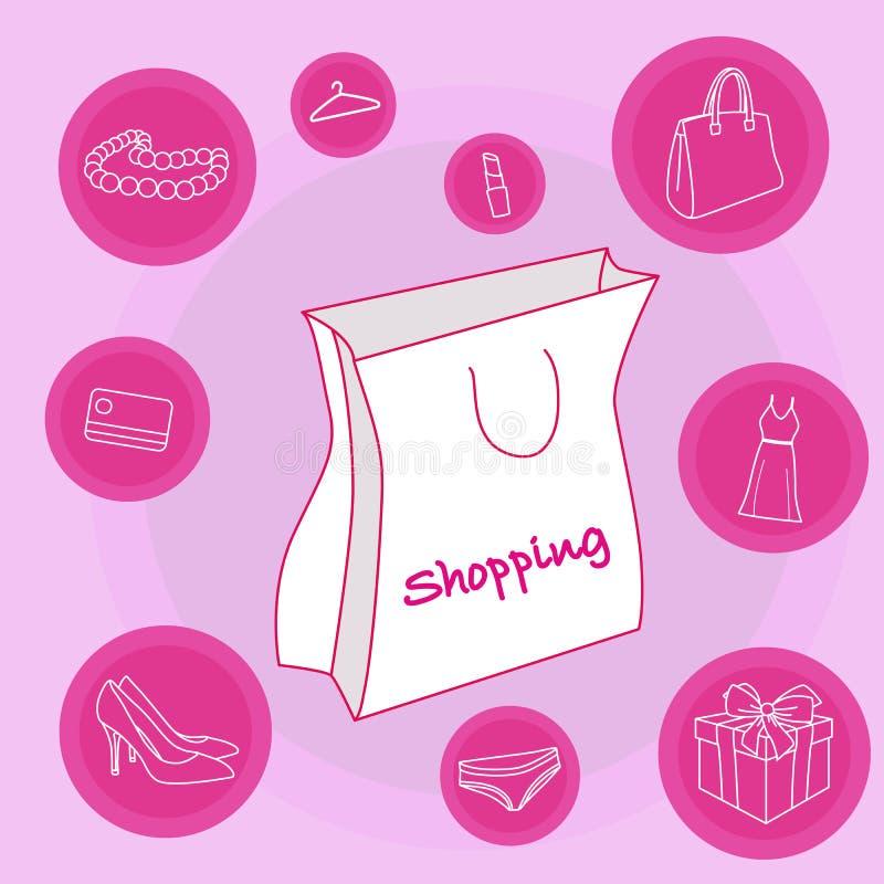 Weiße Einkaufstasche stockbilder