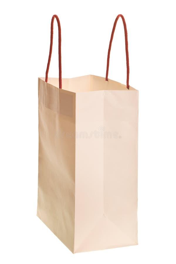 Weiße Einkaufstasche trennte stockbild