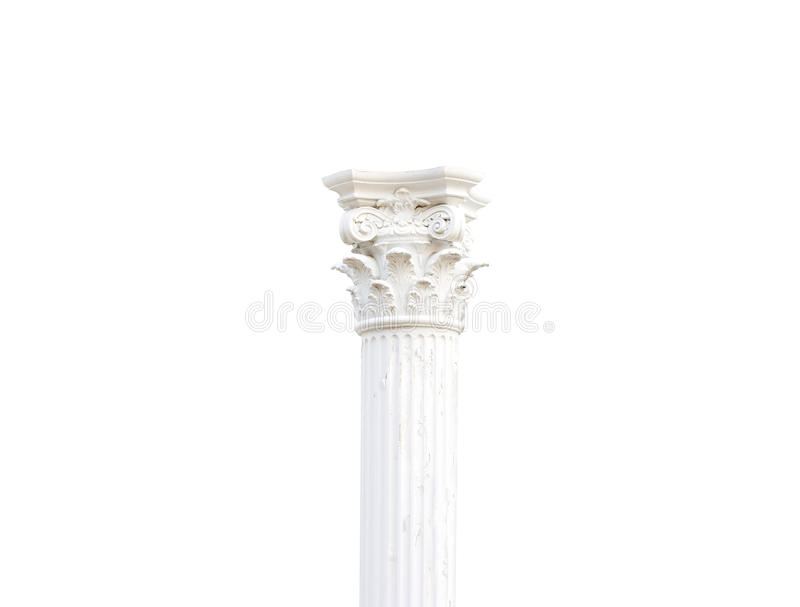 Weiße einzelne Säulen griechisch auf lokalisiertem weißem Hintergrund lizenzfreie stockfotos