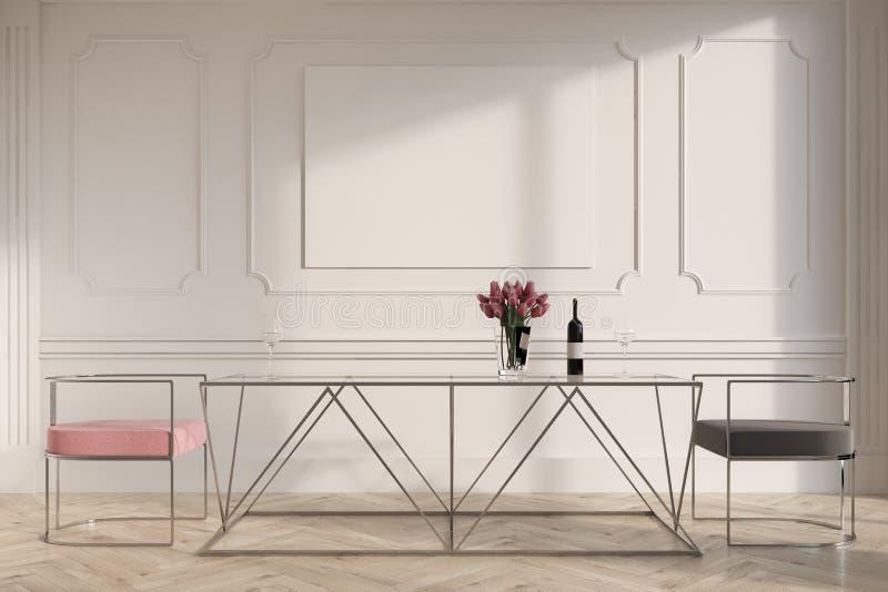 Weiße Esszimmer-, rosa und Grauestühle, Plakat lizenzfreie abbildung
