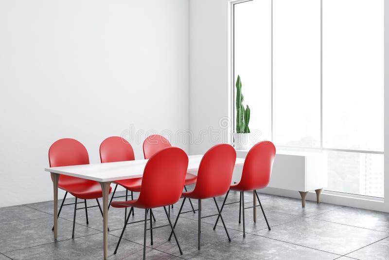 Weiße Esszimmerecke mit roten Stühlen stock abbildung