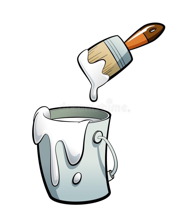 Weiße Farbe der Karikatur Farbin einer Farbeimermalerei mit Farbe lizenzfreie abbildung