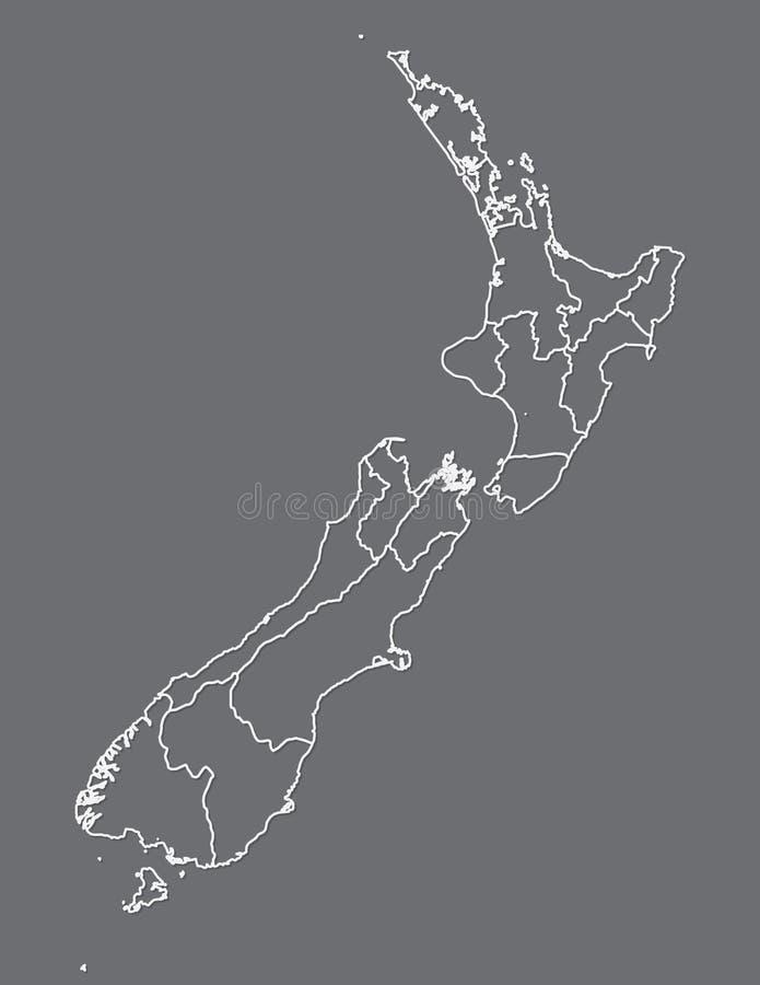 Weiße Farbe-Neuseeland-Karte mit Linien von verschiedenen Regionen auf dunklem Hintergrundvektor lizenzfreie abbildung