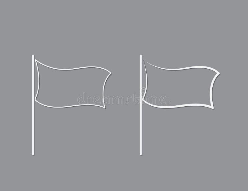 Weiße Farbflaggen mit einfachen Linien für Entwürfe und Zeiger auf schwarzer Hintergrundvektorillustration vektor abbildung