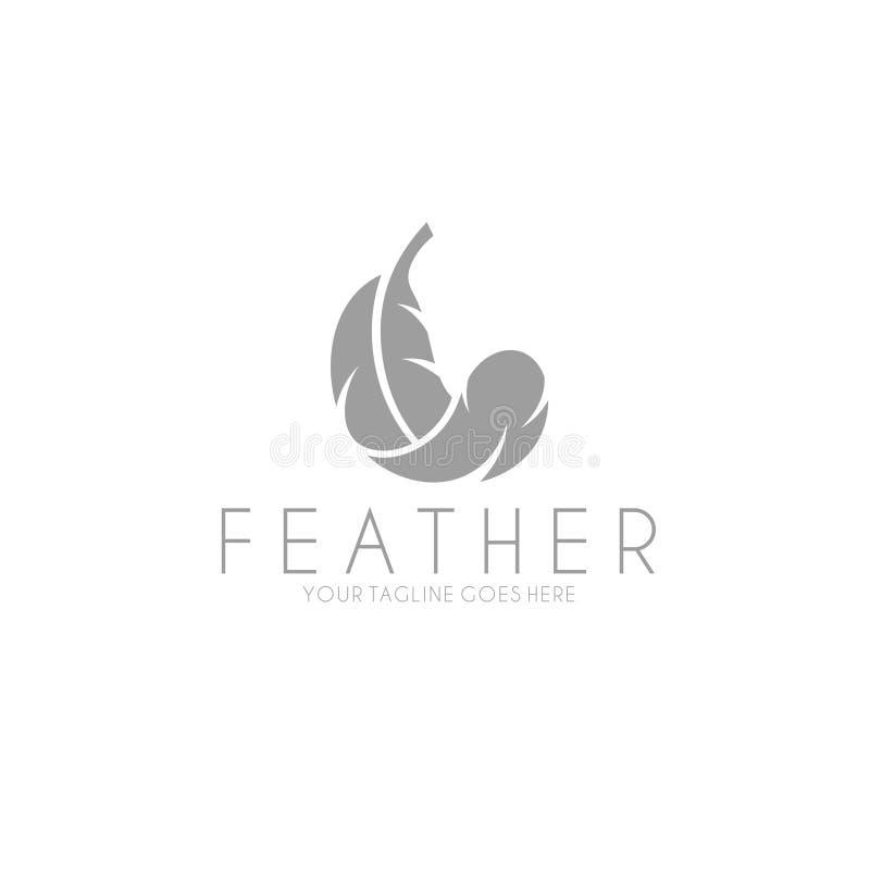Weiße Feder zeichen Lokalisierte Feder auf weißem Hintergrund lizenzfreie abbildung