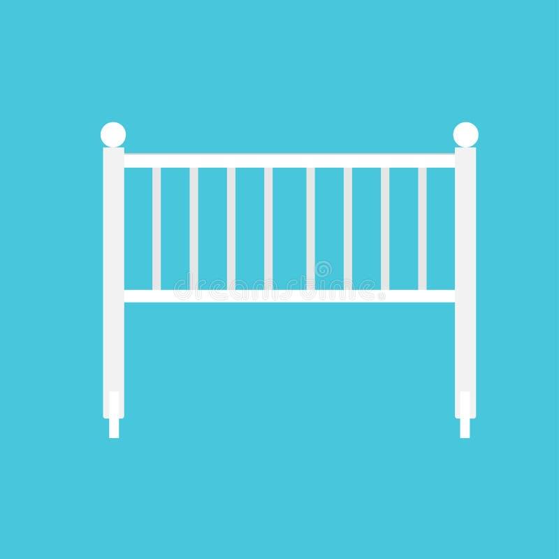 Weiße flache Symbolkunst des Wiegenbabys Wenig Schattenbildausrüstungsbettkindervektorikone Bettkinderfeldbettillustration stock abbildung