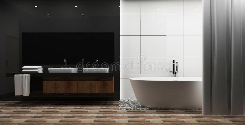 Weiße Fliese und grauer glatter Wandbadezimmerinnenraum mit weißer Wanne, besudelt Wiedergabe 3d stock abbildung