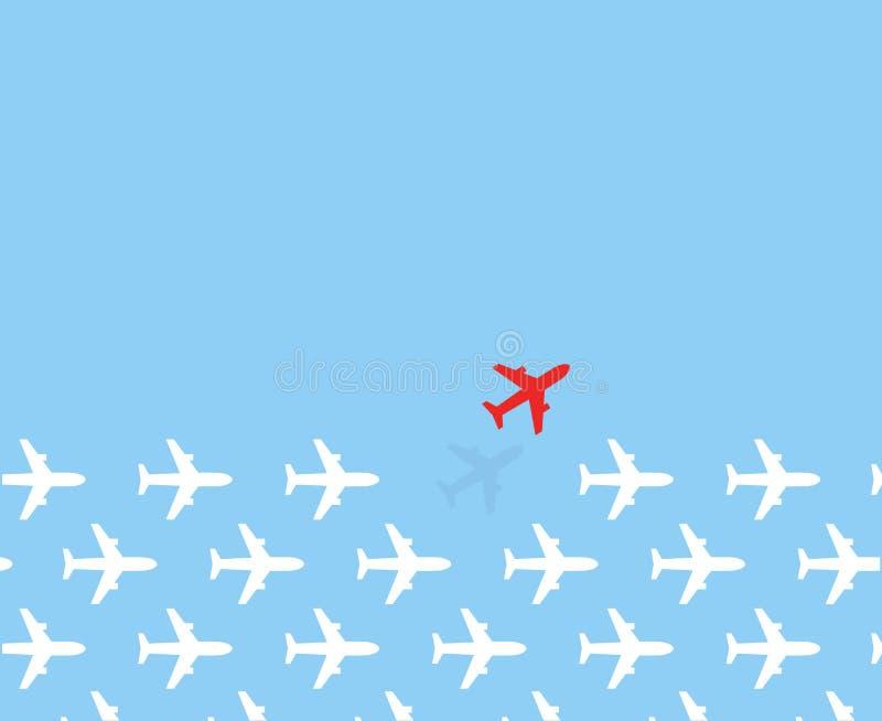 Weiße Flugzeuggruppenfliege in einer Richtung und nur eine rote Flugzeugfliege auf unterschiedliche Art auf Hintergrund des blaue stock abbildung
