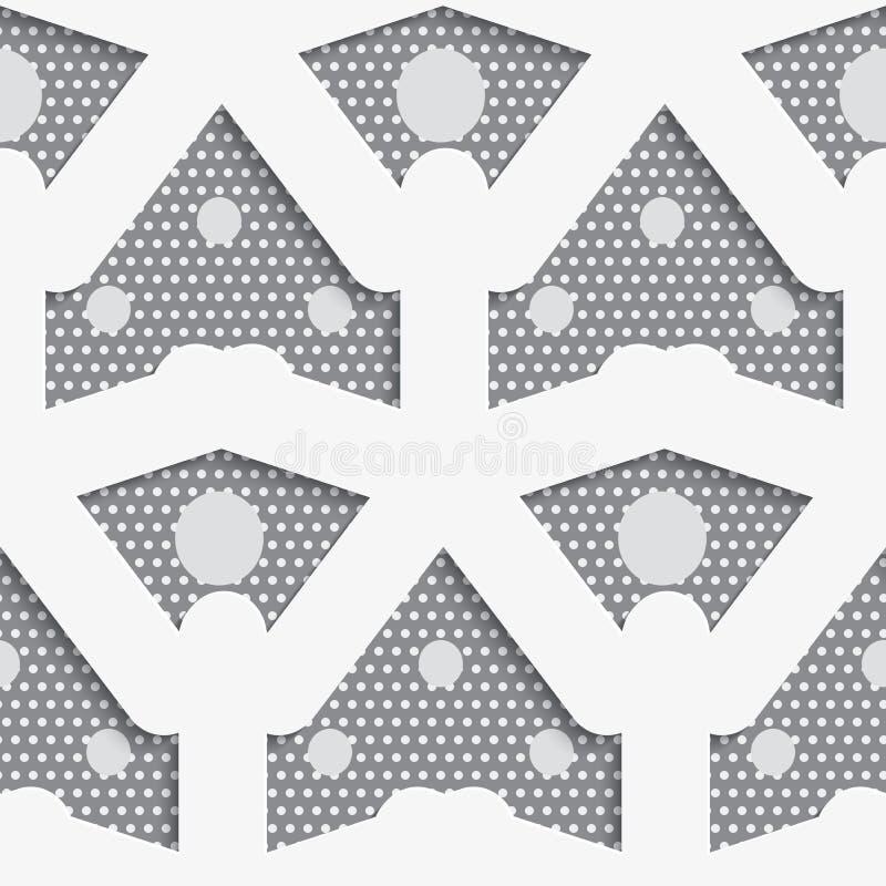Weiße Formen mit den großen und kleinen Punkten auf grauem Muster lizenzfreie abbildung