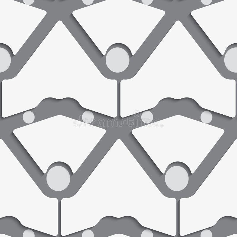 Weiße Formen mit Punkten auf grauem Muster lizenzfreie abbildung