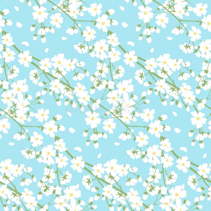 Weiße Frühlingsbaumblumen vektor abbildung