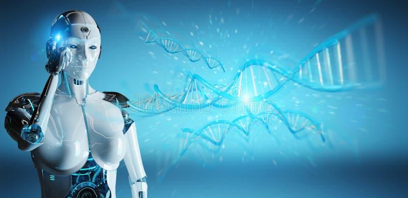 Weiße Frau Cyborg, der menschliche Wiedergabe DNA 3D scannt vektor abbildung