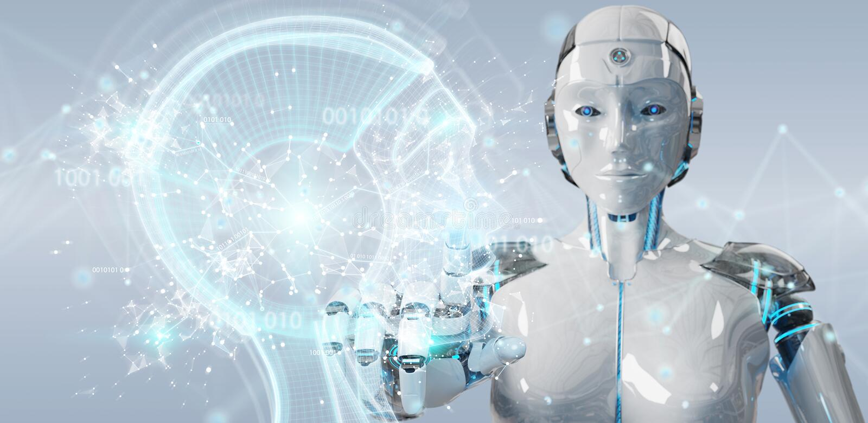 Weiße Frau Cyborg, der Wiedergabe der künstlichen Intelligenz 3D schafft lizenzfreie abbildung