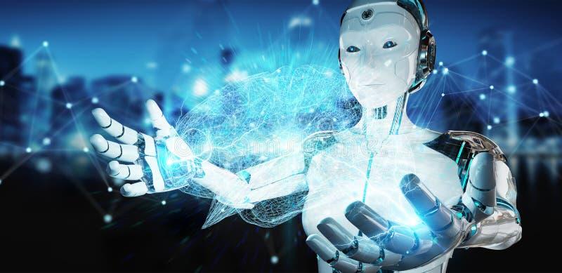 Weiße Frau Humanoid, der künstliche Intelligenz 3D renderi schafft lizenzfreie abbildung