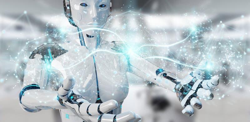 Weiße Frau Humanoid unter Verwendung der digitalen Wiedergabe des globalen Netzwerks 3D vektor abbildung