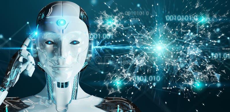Weiße Frau Humanoid unter Verwendung digitaler Kugel hud Schnittstelle 3D übertragen lizenzfreie abbildung