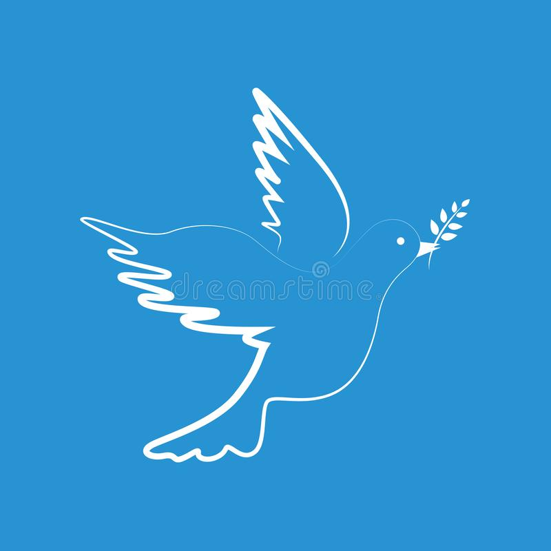 Weiße Friedenstaube auf blauem Hintergrund vektor abbildung