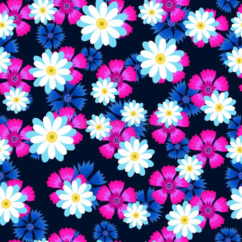 Weiße Gänseblümchen, rosa Gartennelke und blaue Kornblumen vektor abbildung