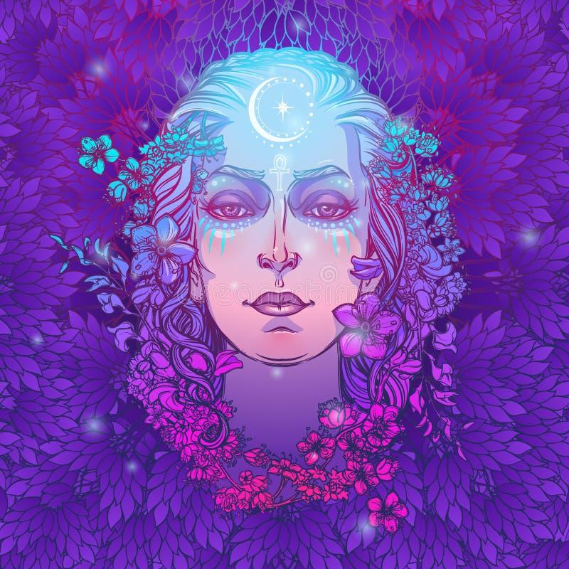 Weiße Göttin der europäischen Kultur Symbol von Weiblichkeit, von Mutterschaftsgeburt und von Tod Gewusst in den verschiedenen Ku lizenzfreie abbildung