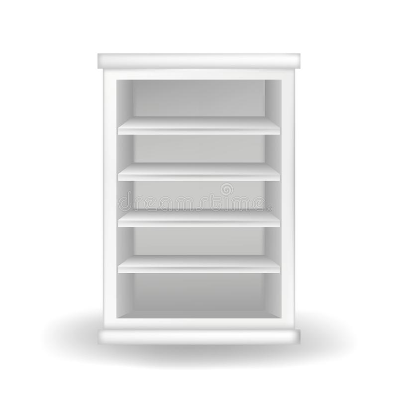 Weiße Garderobe oder Bücherschrank Realistische Vektorillustration mit Schatten auf weißem Hintergrund Moderne M?bel stock abbildung