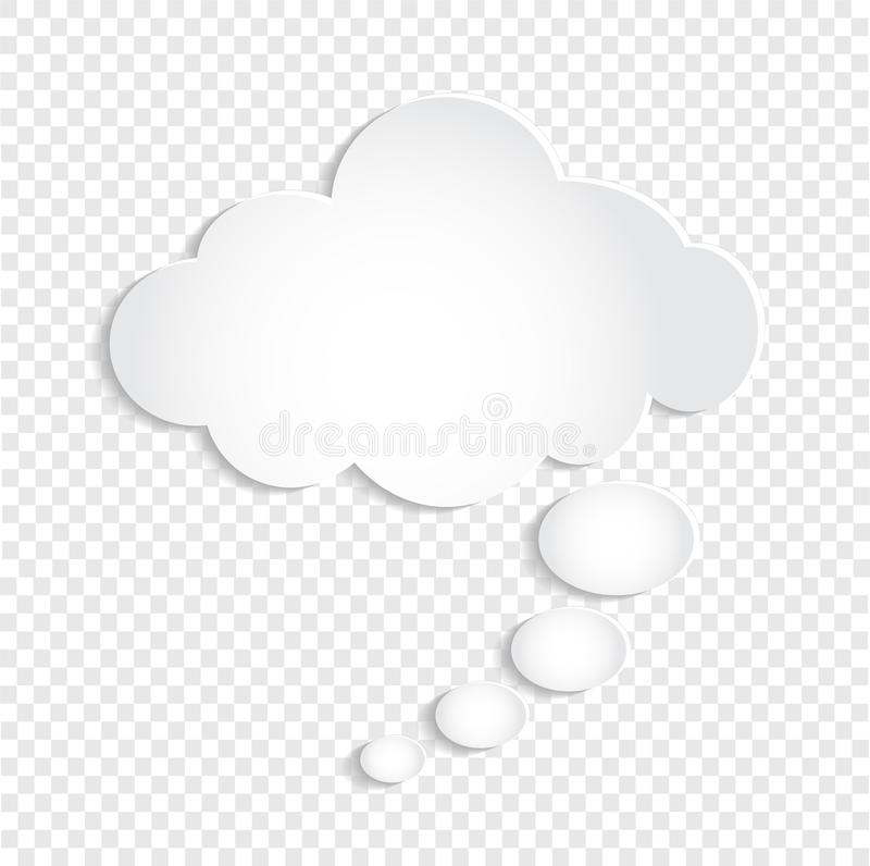 Weiße Gedanken-Blasen-Wolke auf transparentem Hintergrund, vect auf Lager lizenzfreie abbildung