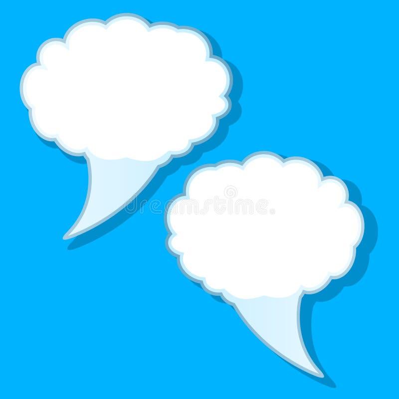 Weiße Gedankenblase Infographic-Designs auf blauem Hintergrund vektor abbildung