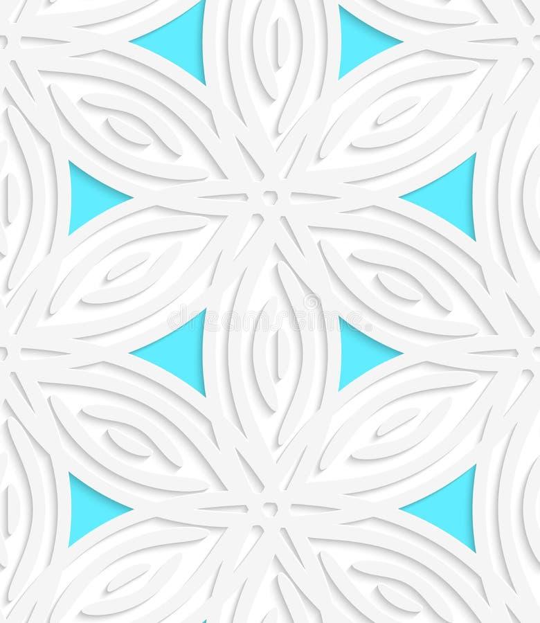 Weiße geometrische Blume mögen Formen mit blauem nahtlosem Muster lizenzfreie abbildung