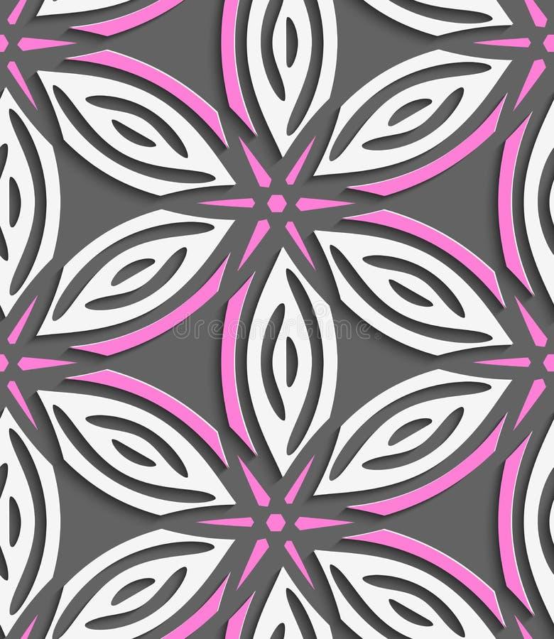 Weiße geometrische Blumen mit rosa Sternen auf grauem nahtlosem patte lizenzfreie abbildung