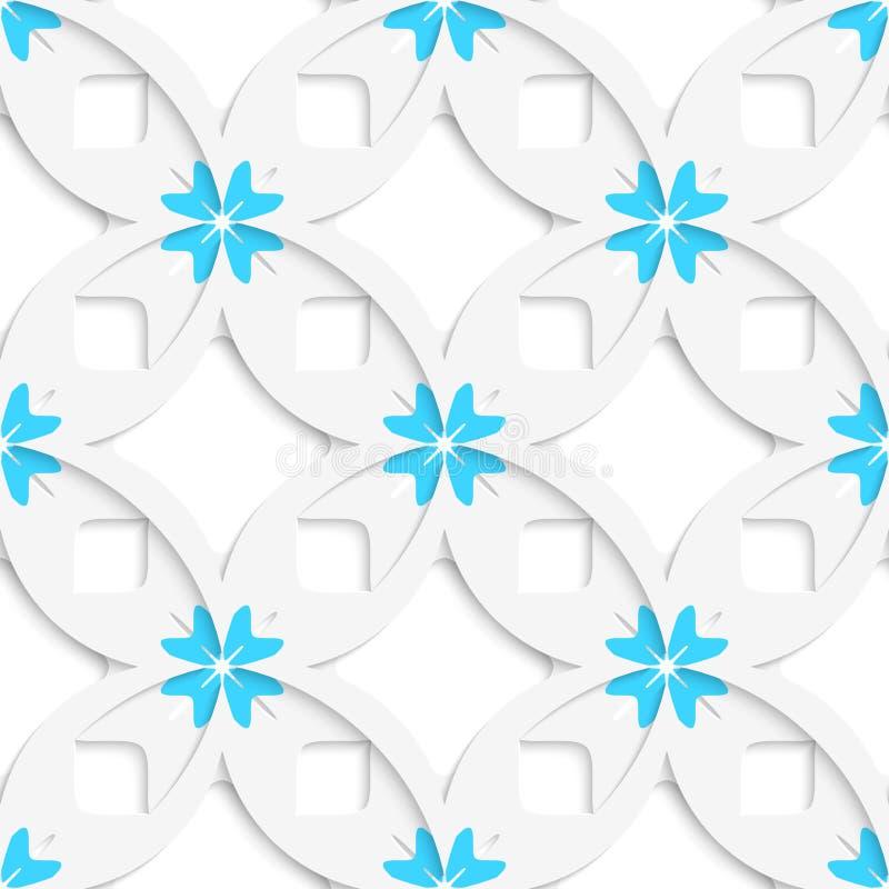 Weiße geometrische Blumen und Quadrate überlagerten nahtloses vektor abbildung