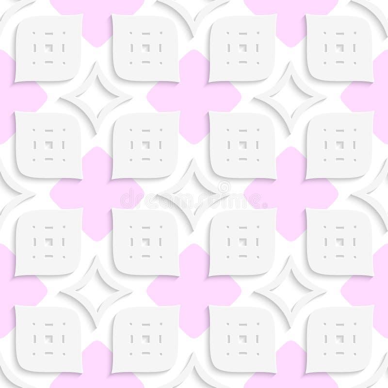 Weiße geometrische perforierte Blätter und rosa nahtloses stock abbildung