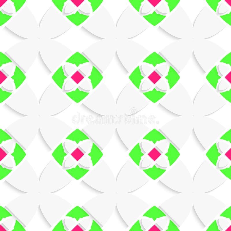 Weiße geometrische Verzierung mit Grün und Rosa stock abbildung