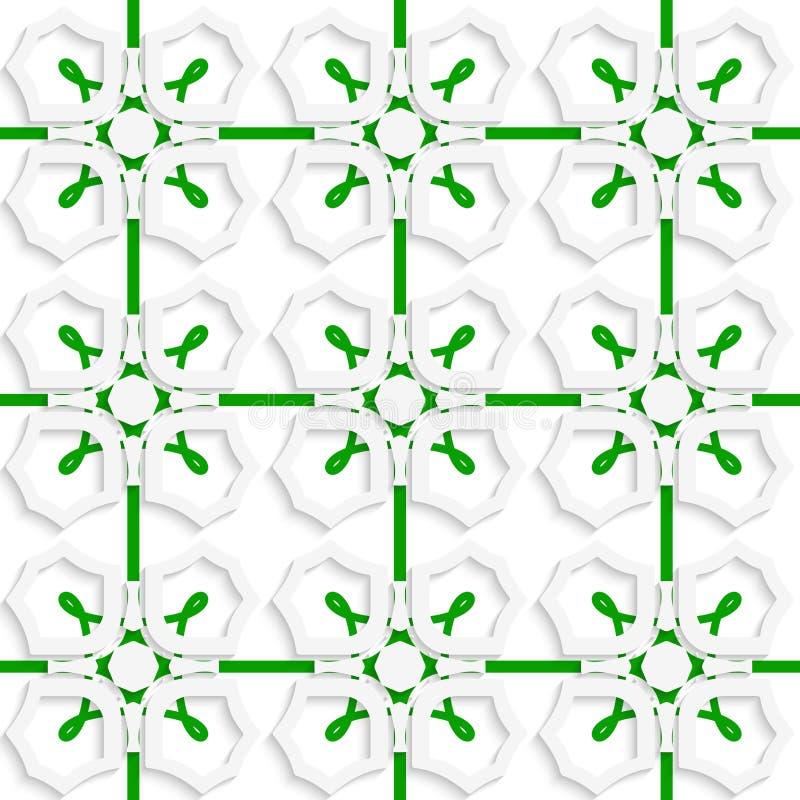 Weiße geometrische Verzierung mit grünem Nettonahtlosem vektor abbildung