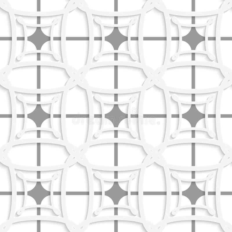 Weiße geometrische Verzierung mit grauem Nettonahtlosem vektor abbildung