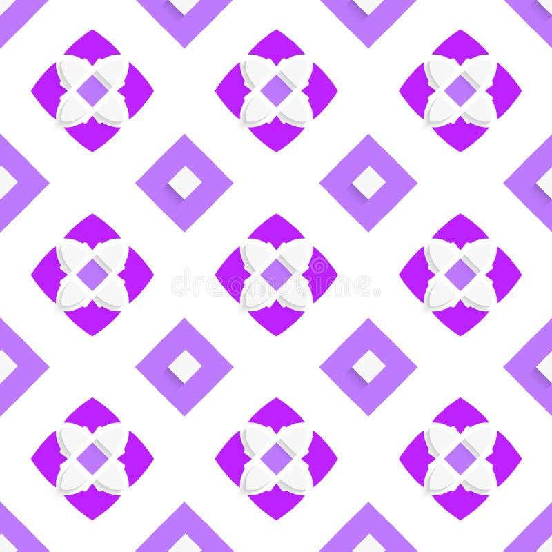 Weiße geometrische Verzierung mit purpurroten Quadraten stock abbildung