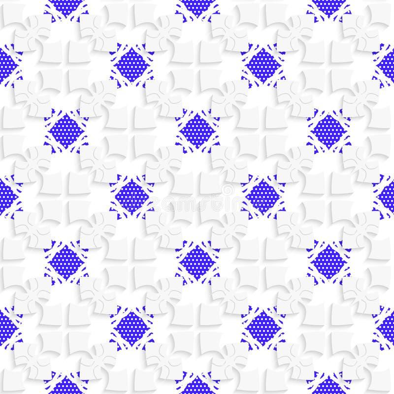 Weiße geometrische Verzierung mit strukturierten blauen Details stock abbildung