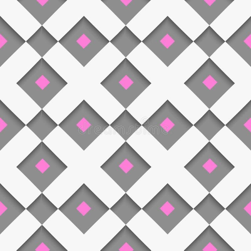 Weiße geometrische Verzierung mit weißem Netz und rosa Quadrate auf GR stock abbildung