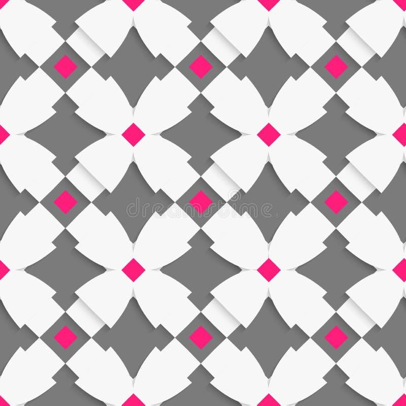 Weiße geometrische Verzierung mit weißen Kreuzen und Rosa quadriert O stock abbildung