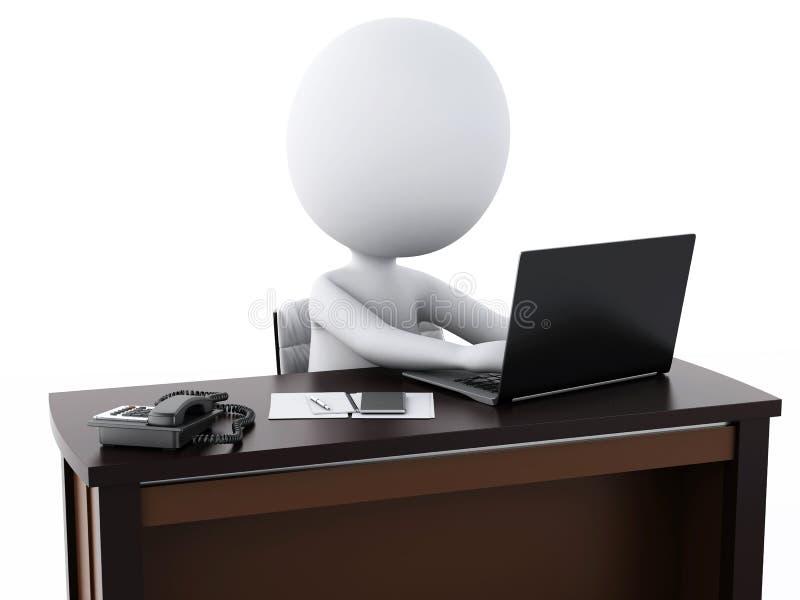 weiße Geschäftsleute 3d, die im Büro arbeiten lizenzfreie abbildung